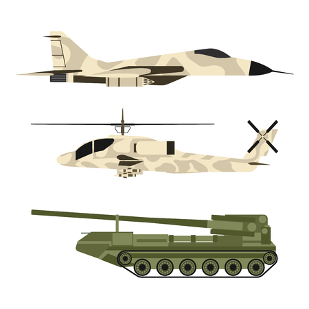 Military army transport technic vector war tanks industry technic armor system armored army personnel camouflage carriers weapon illustration. Ilustração