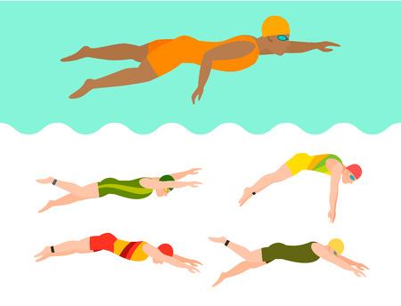 Natação vector pessoas estilo esquema diferentes nadadores homem e mulher na piscina esporte pose pessoas exercem ilustração Foto de archivo - 93599411
