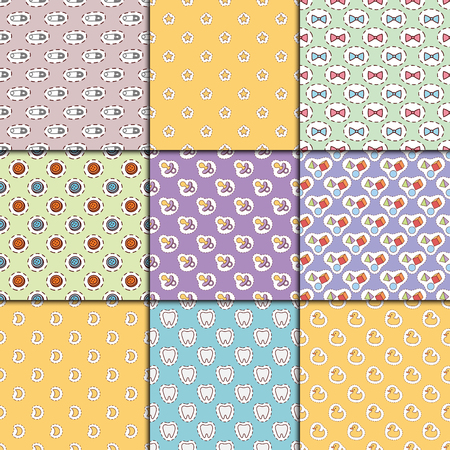 Baby toys icons. Cartoon family kid toy shop design. Cute boy and girl childhood art. Drawing graphic love rattle fun seamless pattern background vector illustration. Illustration
