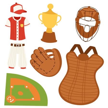야구 스포츠 경쟁 게임 팀 상징 소프트볼 놀이. 만화 아이콘 스포츠 장비 벡터 일러스트 레이 션을 디자인합니다. 미국 프로 리그 도구.