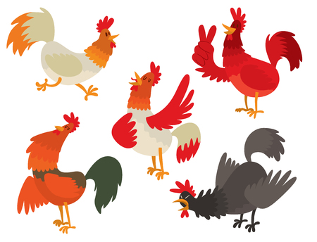 Cute cartoon rooster vector illustration chicken farm animal agriculture domestic bird rooster farm character. Standard-Bild - 93622863