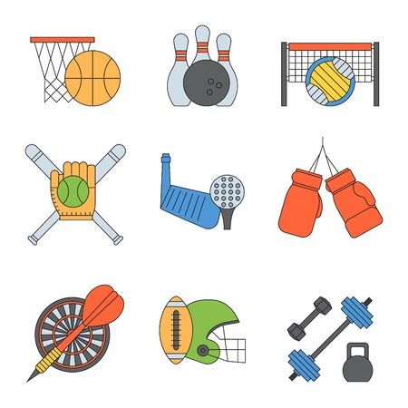 Set of sport vector icons in flat design line pictogram fitness sportsmen symbol game trophy competition dumbbell activity illustration. Basketball, football, hockey, golf.