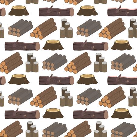 建設ビル用積み重ねられた木材松材カット切り株木材樹皮シームレスパターン背景ベクトルイラスト。  イラスト・ベクター素材
