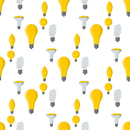 Cartoon lamps old light bulb seamless pattern background design vector illustration electric brainstorm solution energy. Ilustrace