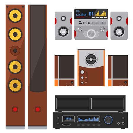 어쿠스틱 사운드 시스템 스테레오 플랫 벡터 음악 스피커 플레이어 우퍼 장비 기술.