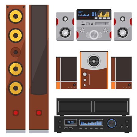 Acoustic sound system stereo flat vector music loudspeakers player sub woofer equipment technology.