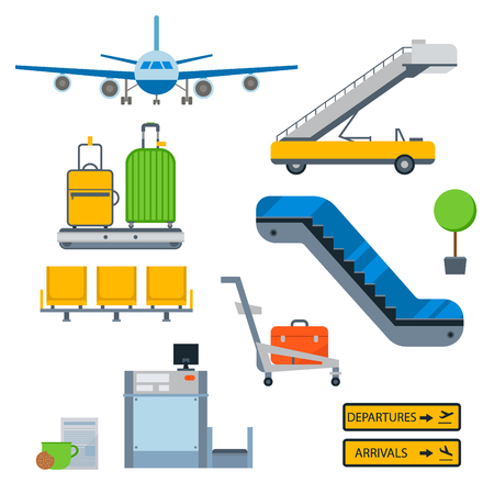 Aviation icons vector airline graphic airplane airport transportation fly travel symbol illustration