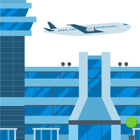 Aviation airport vector airline graphic airplane airport transportation fly travel symbol illustration.