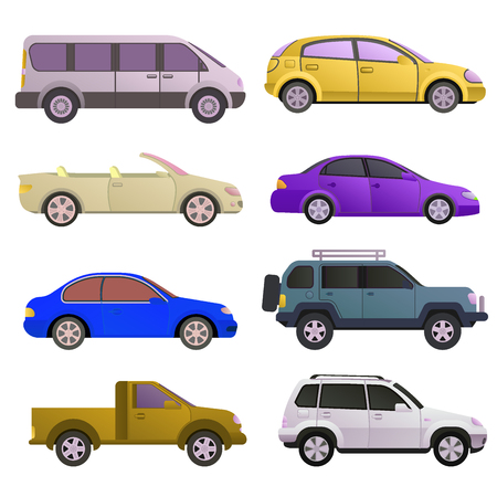 Car auto vehicle transport type design travel race model technology style and generic automobile contemporary kid toy flat vector. illustration. Illustration