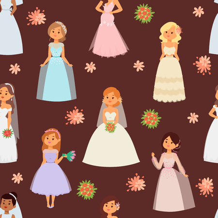 Wedding brides characters vector illustration celebration marriage fashion woman cartoon girl white ceremony marry dress seamless pattern background.
