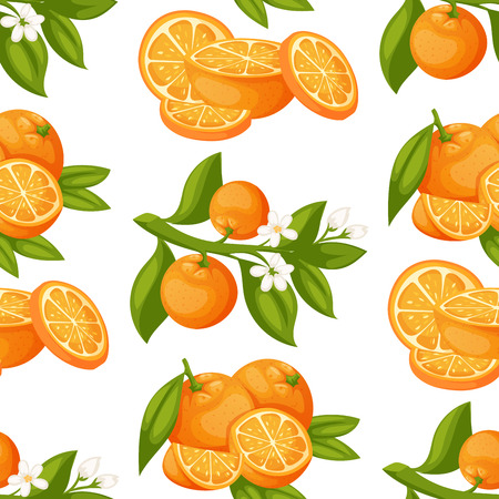Oranges and orange products vector illustration natural citrus fruit vector juicy tropical dessert beauty organic juice healthy food seamless pattern background. Stock Illustratie
