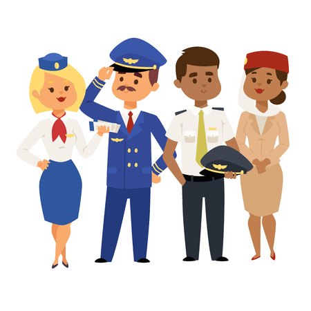 Pilots and stewardess vector illustration airline character plane personnel staff air hostess flight attendants people command. Иллюстрация