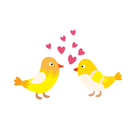 Two lovely birds couple vector fall in love fly animals kissing with hearts yellow birds illustration Illustration