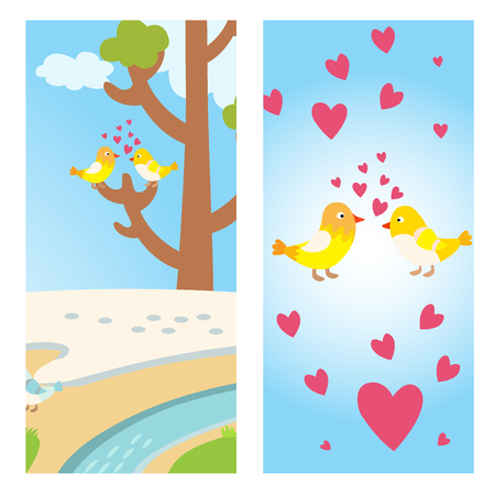 Two lovely birds spring card with tree and couple vector fall in love fly animals kissing with hearts yellow birds illustration Illustration