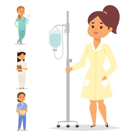 닥터 간호사 문자 벡터 의료, 여성, 직원, 플랫, 디자인, 병원, 팀,
