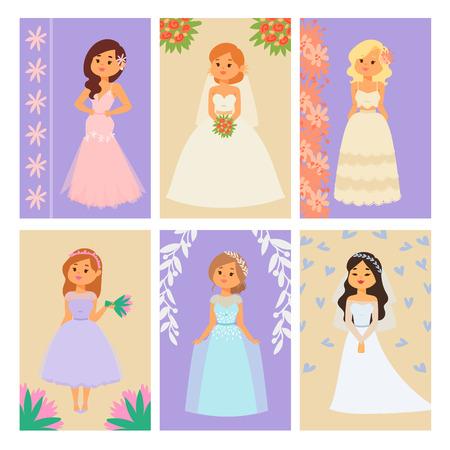 Hochzeitsbrautcharaktere vector weiße Zeremonie des Kartenillustrationsfeierheiratmodefrauen-Karikaturmädchens heiraten Kleid Standard-Bild - 93870204