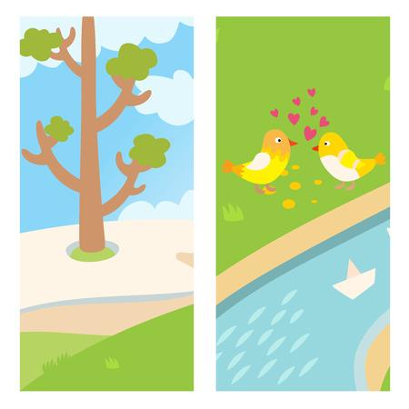 Twee mooie vogels lente kaart ontwerp