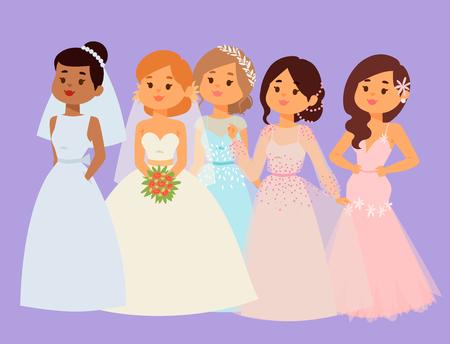 Hochzeit Bräute Charaktere Feier Mode Frau Cartoon weiße Zeremonie heiraten Kleid Romantik mit Schleier in Zeremonie Ehe Liebe schöne Kleidung.