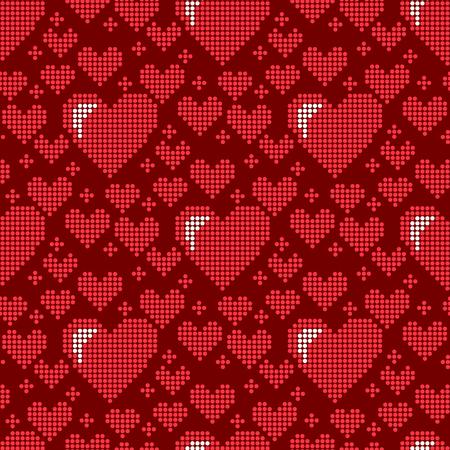 明るい顔文字の休日のアートシャープな赤い心の装飾ロマンスのデザインの愛の美しい祝いのためのシンプルなシームレスなパターンの背景カード