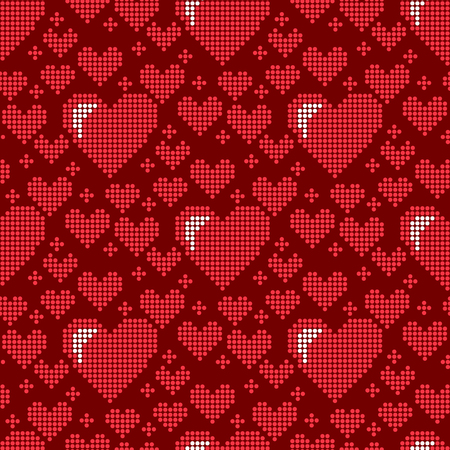 Simple seamless pattern background card for beautiful celebrate with bright emoticon holiday art sharp red hearts decoration romance shape design of love
