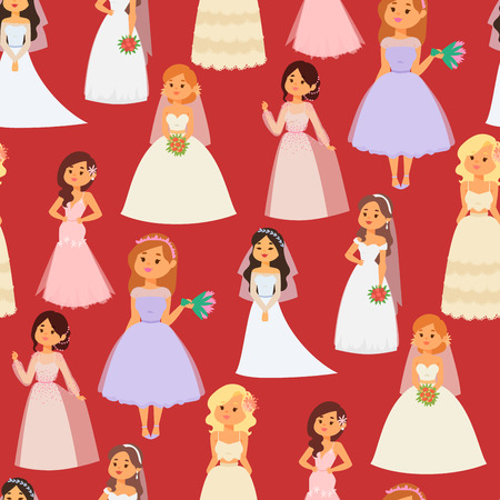 Wedding brides characters vector illustration celebration marriage fashion woman cartoon girl white ceremony marry dress seamless pattern background