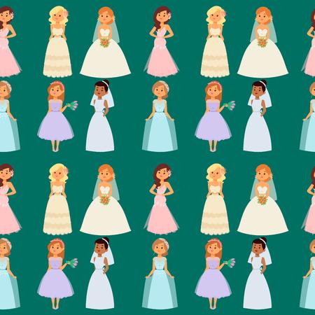Wedding brides characters vector seamless pattern background illustration. Celebration fashion woman cartoon girl white marry dress. Romance veil woman wedding brides marriage love beautiful wear.