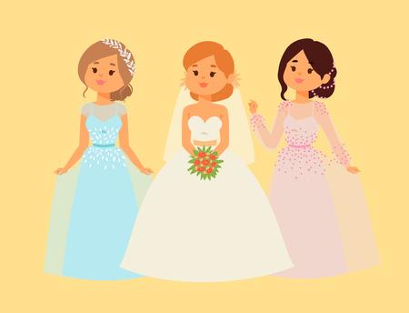 Wedding brides characters vector illustration. Celebration fashion woman cartoon girl white ceremony marry dress. Romance veil woman wedding brides ceremony marriage love beautiful wear.