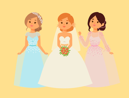 Wedding brides characters vector illustration. Celebration fashion woman cartoon girl white ceremony marry dress. Romance veil woman wedding brides ceremony marriage love beautiful wear.
