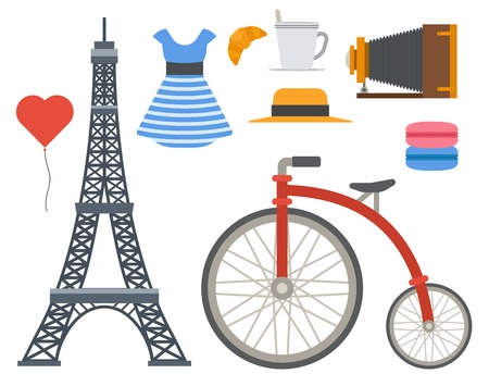 Paris icons vector famous travel cuisine traditional modern france culture europe eiffel fashion design architecture symbols illustration. Famous travel love Paris icons monument capital landmark. Ilustracja