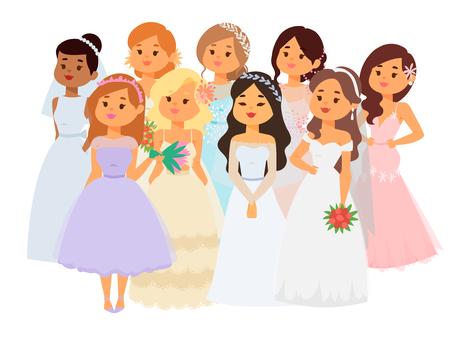 Wedding brides characters vector illustration. Celebration marriage fashion woman. Cartoon girl, white ceremony wedding dress.