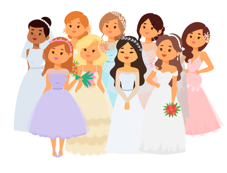 Wedding brides characters vector illustration. Celebration marriage fashion woman. Cartoon girl, white ceremony wedding dress.