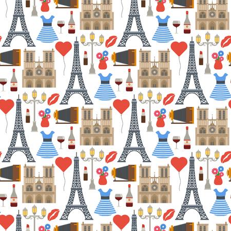 Paris vector famous travel cuisine traditional modern france culture europe eiffel fashion design architecture symbols illustration. Famous travel love Paris seamless pattern background. Illustration