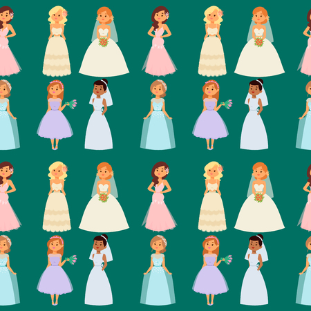 Wedding brides characters vector seamless pattern background illustration. Celebration fashion woman cartoon girl white marry dress. Romance veil woman wedding brides marriage love beautiful wear.