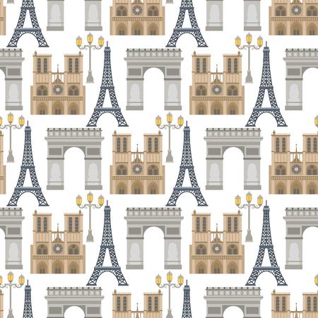 Paris vector famous travel cuisine traditional modern france culture europe eiffel fashion design architecture symbols illustration. Famous travel love Paris seamless pattern background. Ilustracja