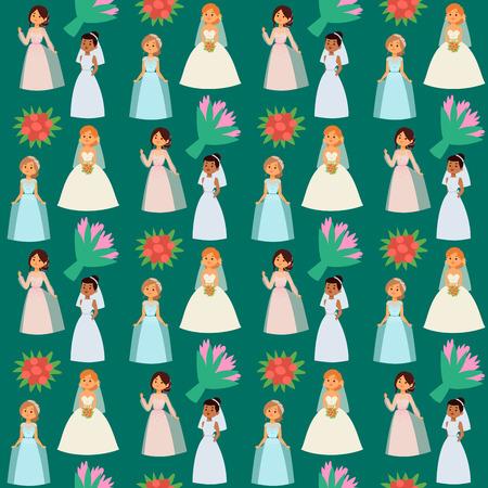 Muster-Hintergrundillustration des Hochzeitsbrautcharaktervektors nahtlose. Feier Mode Frau Cartoon Mädchen weiß heiraten Kleid. Romantik Schleier Frau Hochzeit Bräute Ehe Liebe schöne Abnutzung. Standard-Bild - 94416553
