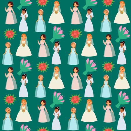 Hochzeitsbrautcharaktere vector Illustrationsfeierheiratmodefrauen-Karikaturmädchenweiße Zeremonie heiraten Kleidernahtlosen Musterhintergrund Standard-Bild - 94418542