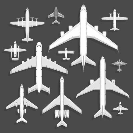Vector vliegtuigen pictogrammen bovenaanzicht vector illustratie geïsoleerd op de achtergrond. Reizen per luchthaven vlucht vakantie vervoer passagiersvliegtuig. Turbine reis piloot vliegtuig jet. Stockfoto - 94418543
