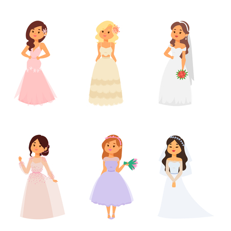 Wedding brides characters vector illustration celebration marriage fashion woman cartoon girl white ceremony marry dress