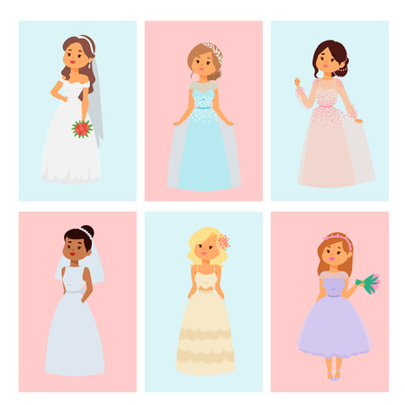 Wedding brides characters vector card illustration celebration marriage fashion woman cartoon girl white ceremony marry dress. Illustration
