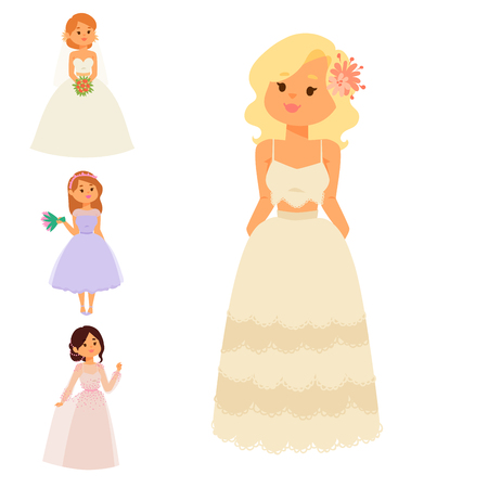 Wedding brides characters vector illustration celebration marriage fashion woman cartoon girl white ceremony marry dress.
