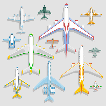 Vector airplanes icons top view vector illustration isolated on background. Travel by airport flight vacation transport passenger plane. Turbine voyage pilot plane jet.