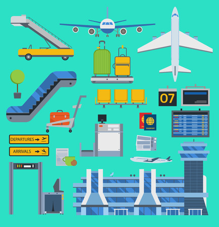 Aviation airport vector icons set travel airline graphic illustration terminal station concept airport symbols airport terminal plane transport business flight tourism.