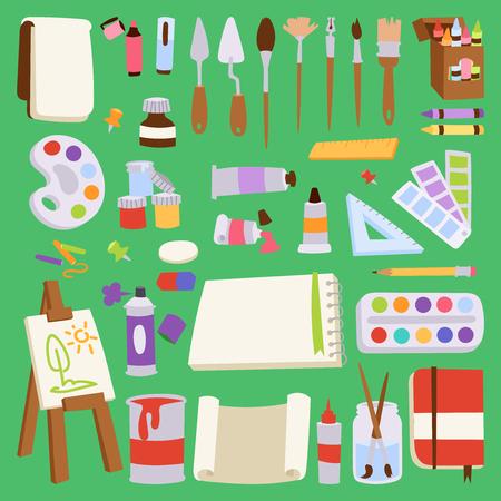 絵画ベクターアーティストツールパレットアイコンセットフラットイラスト詳細文房具クリエイティブペイント機器アートキャンバス描画シンボル  イラスト・ベクター素材