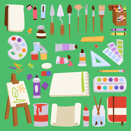 Painting vector artist tools palette icon set flat illustration details stationery creative paint equipment art canvas drawing symbol artist instrument for creativity decoration.