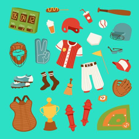 Vector cartoon baseball game player clothes uniform ball, glove and object baseball icons game team symbol softball play sport game design sport equipment illustration.