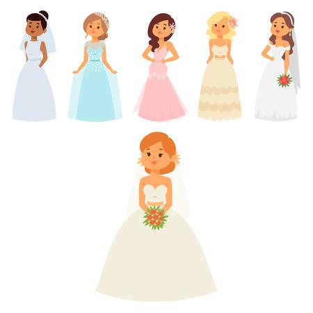 Hochzeitsbrautcharakter-Vektorillustration. Feier Mode Frau Cartoon Mädchen weiße Zeremonie heiraten Kleid. Schöne Abnutzung der Romance Schleierfrauenhochzeits-Brautzeremonie-Verbindungsliebe. Standard-Bild - 94569779
