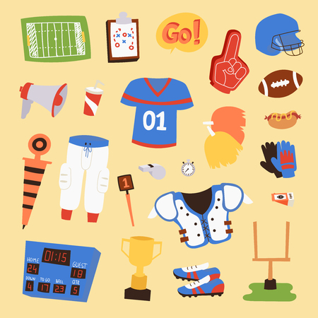 American football vector player uniform sport icons isolated on background. Sport athlete uniform people helmet icons. Winning adult football soccer professional competition sports equipment. Illustration