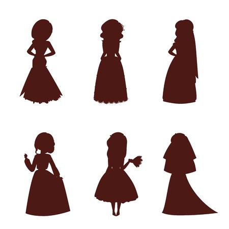Hochzeitsbrautcharaktere vector weiße Zeremonie des Schattenbildillustrationsfeierheiratmodefrauen-Karikaturmädchens heiraten Kleid Standard-Bild - 94793298