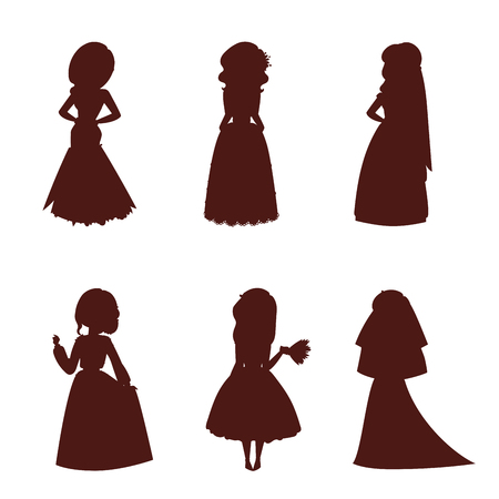 Wedding brides characters vector silhouette illustration celebration marriage fashion woman cartoon girl white ceremony marry dress