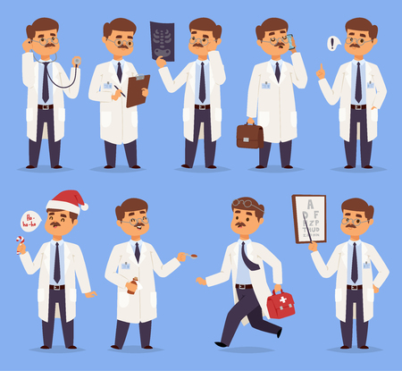 Doctor man vector character different pose nursery mustache medical men people. Vector illustration of doctor isolated on background. Different doctors characters in hospital uniform first help box